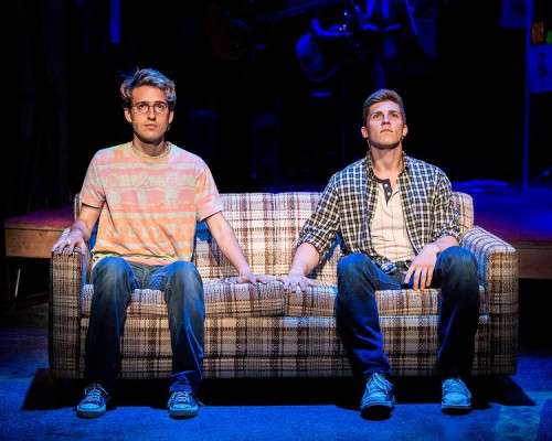 """L - R: Ryder Bach and Curt Hansen in ""Girlfriend,"" with book by Todd Almond and music and lyrics by Matthew Sweet. Directed by Les Waters, ""Girlfriend"" is playing at the Center Theatre Group/Kirk Douglas Theatre, July 12 through August 9, 2015. For tickets and information, please visit CenterTheatreGroup.org or call (213) 628-2772.  Contact: CTGMedia@CenterTheatreGroup.org / (213) 972-7376 Photo by Craig Schwartz"""