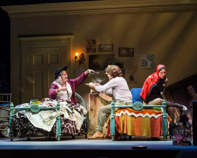 """L-R: Betty Buckley, Josh Young and Rachel York in """"Grey Gardens"""" The Musical. Directed by Michael Wilson, """"Grey Gardens"""" plays at Center Theatre Group/Ahmanson Theatre through August 14, 2016. The book is by Doug Wright, music by Scott Frankel and lyrics by Michael Korie. """"Grey Gardens"""" is based on the film by David Maysles, Albert Maysles, Ellen Hovde, Muffie Meyer and Susan Froemke. For tickets and information, please visit CenterTheatreGroup.org or call (213) 972-4400. Contact: CTGMedia@ctgla.org / (213) 972-7376. Photo by Craig Schwartz."""