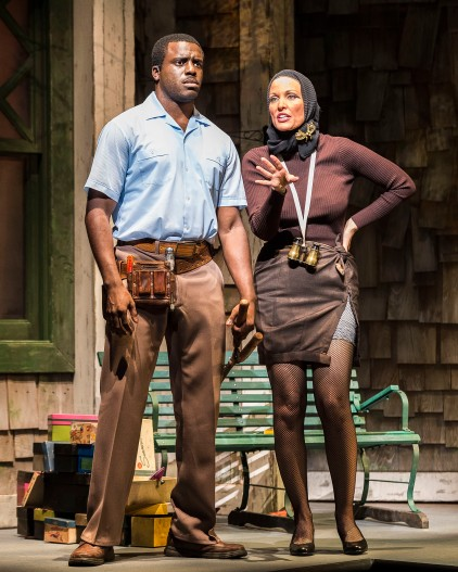 """Davon Williams and Rachel York in """"Grey Gardens"""" The Musical. Directed by Michael Wilson, """"Grey Gardens"""" plays at Center Theatre Group/Ahmanson Theatre through August 14, 2016. The book is by Doug Wright, music by Scott Frankel and lyrics by Michael Korie. """"Grey Gardens"""" is based on the film by David Maysles, Albert Maysles, Ellen Hovde, Muffie Meyer and Susan Froemke. For tickets and information, please visit CenterTheatreGroup.org or call (213) 972-4400. Contact: CTGMedia@ctgla.org / (213) 972-7376. Photo by Craig Schwartz."""